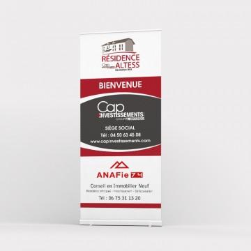 Création graphique du totem extérieur pour Cap Investissements - Investisseur immobilier en Rhône Alpes