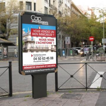 Création graphique du nouvel affichage DECAUX pour Cap Investissements - Investisseur immobilier en Rhône Alpes