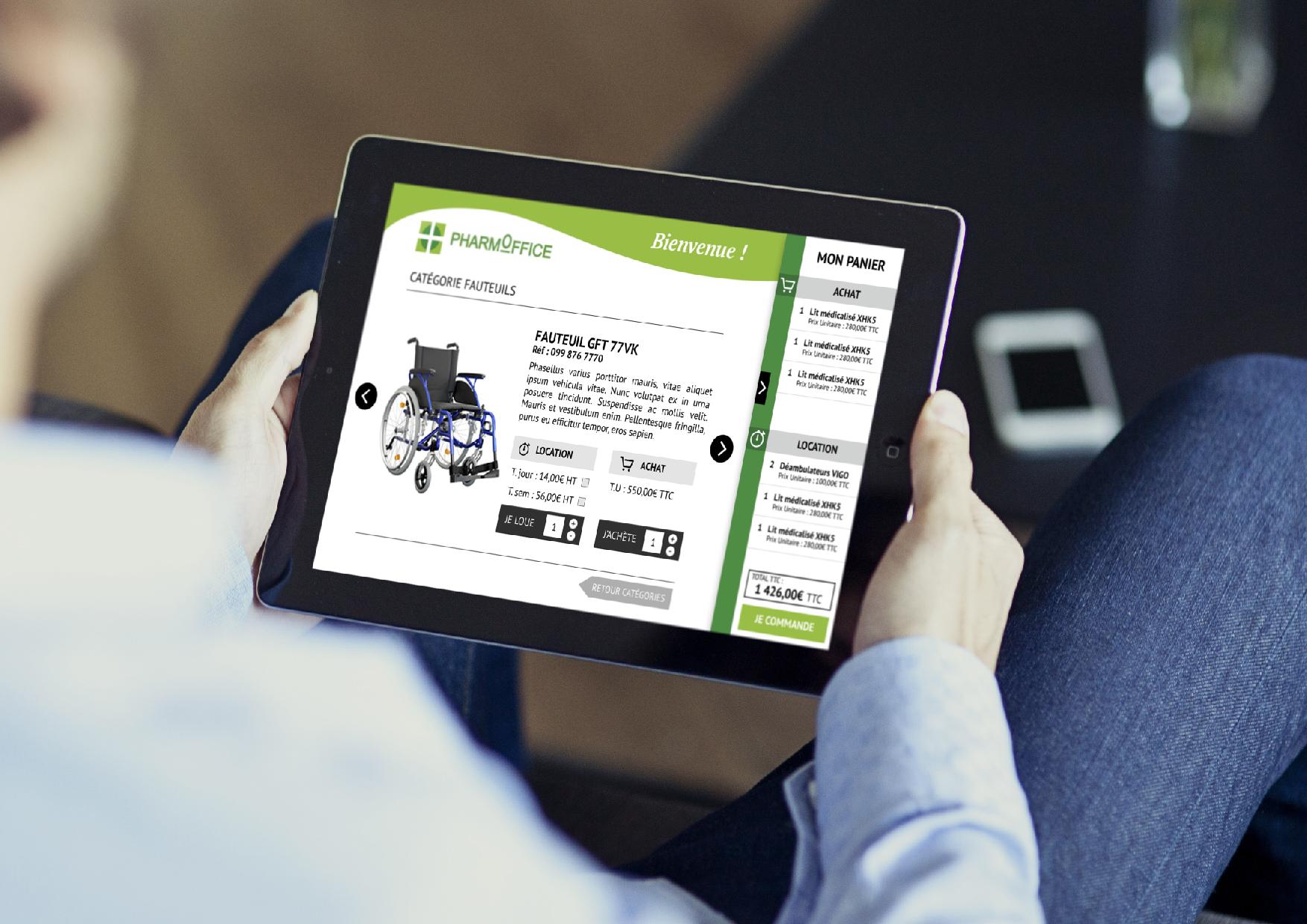 Rapid Système m'a confié la réalisation du design pour l'application tablette de PHARMOFFICE