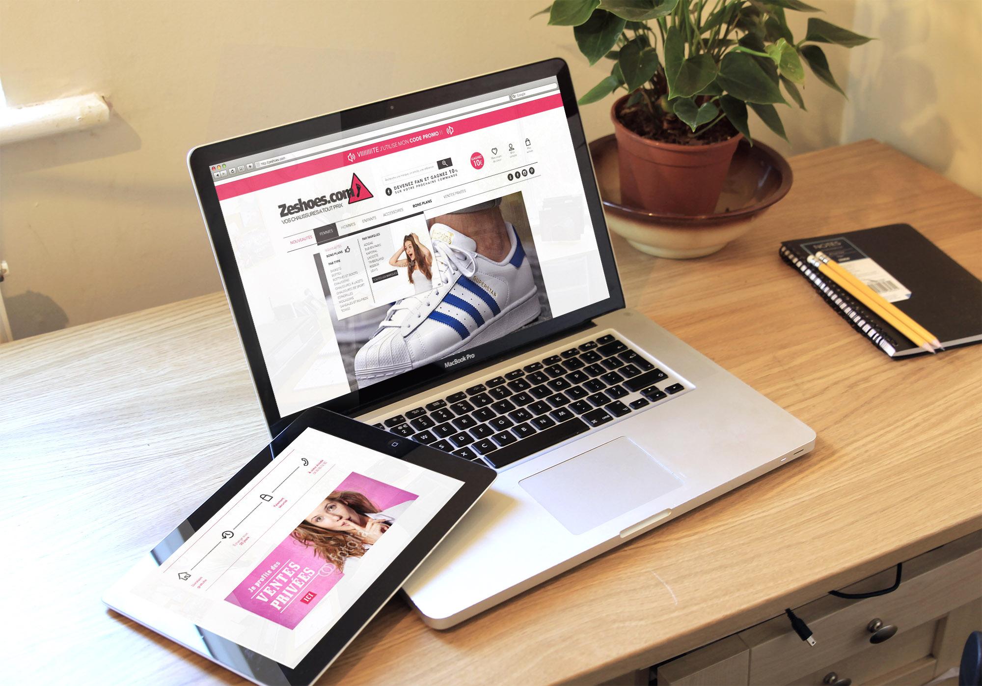 Réalisation du Webdesign du site marchand www.zeshoes.com en partenariat avec Rapid Système