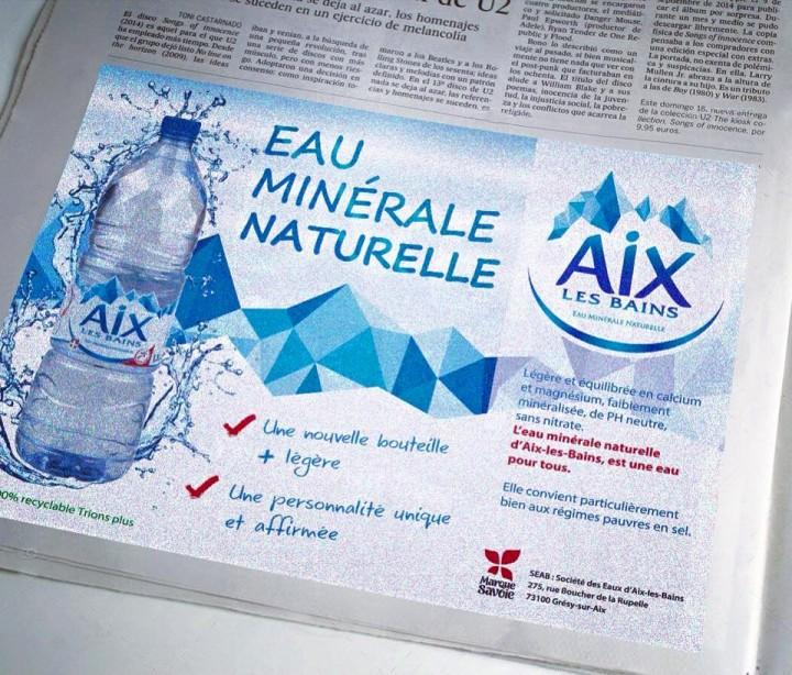 Réalisation des encarts publicitaires pour la société des Eaux minérales d'Aix-les-Bains.