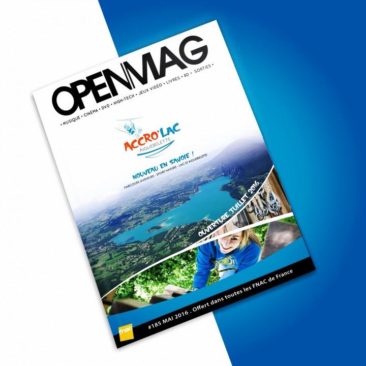 Création visuelle de l'encart publicitaire pour accro lac. Page de couverture de l'OPEN MAG Juin 2016