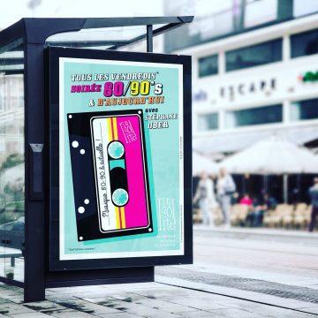 Création affiche soirée années 80' 90's bar l'Insolite aix-les-bains