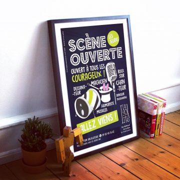 Création affiche soirée scène ouverte bar l'Insolite aix-les-bains