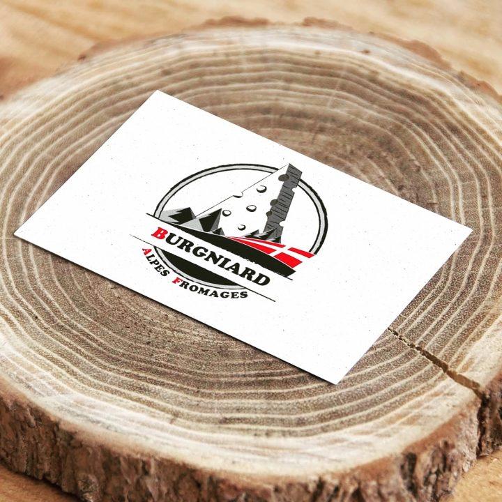 Réalisation du logo et déclinaison de la charte graphique pour Burgniard Alpes Fromages - Aix-les-Bains Savoie
