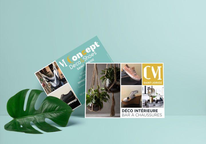 Réalisation des cartes promotionnelles pour M Concept, boutique de décoration intérieure et bar à chaussures en Haute-Savoie.